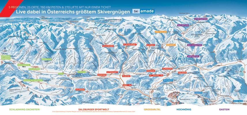 Wagrain -  Pistenplan Wagrain in Ski amadé