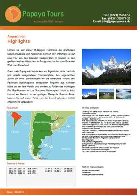 Reiseveranstalter - Argentinien - Highlights (pdf)