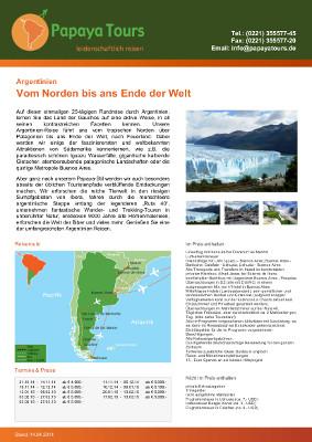 Reiseveranstalter - Argentinien - Vom Norden bis ans Ende der Welt (pdf)