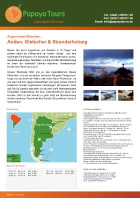 Reiseveranstalter - Argentinien/Brasilien - Anden, Gletscher & Stranderholung (pdf)