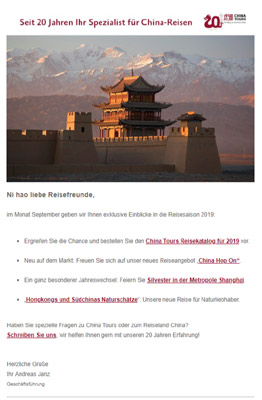 Reiseveranstalter - China Tours - Newsletter