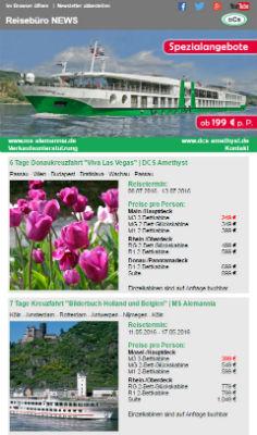 Reiseveranstalter - DCS Flusskreuzfahrten Newsletter