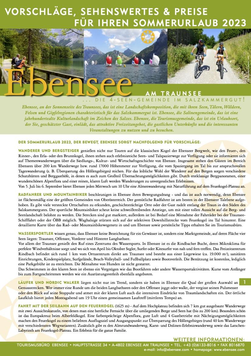 Oberösterreich - Vorschläge für den Sommerurlaub 2017 (pdf)